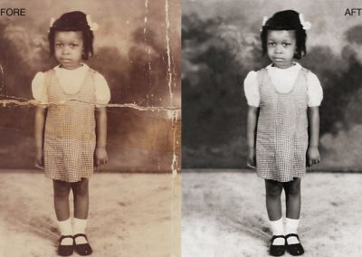 Photo Restoration - Yellowing Removed, Cracks Repaired