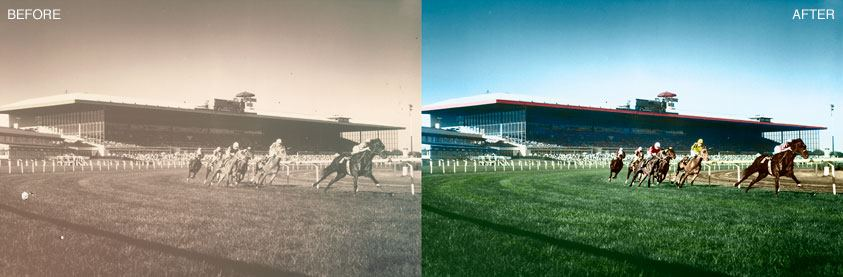 Photo Colorization - Arlington Park Race Track