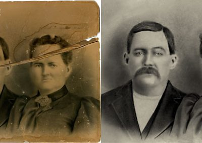 Photo Restoration - Tear Repaired, Yellowing Removed