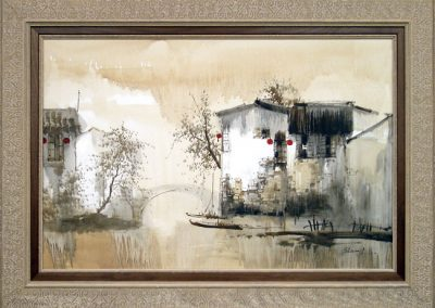 Framed Asian Landscape Oil Painting