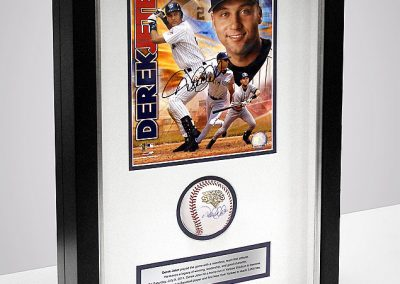 Framed Baseball and Magazine Cover