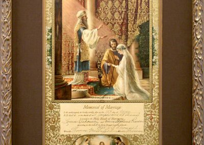 Antique Marriage Certificate Frame